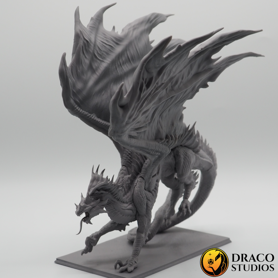 Sivax 3d-printed on white background with Draco Studios Logo left front