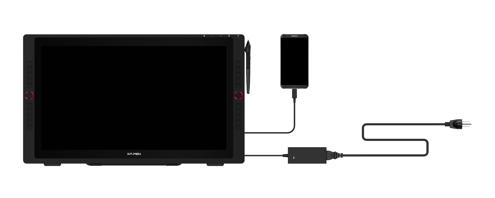 Artist-24-Pro connected to smartphone via USB-C cable